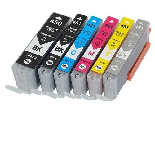 Комплект картриджей PGI-450/CLI-451 XL для Canon PIXMA-MX924 MG5440 MG5540 MG5640 MG6340 MG6440 MG6640 MG7140 MG7540 iX6840 iP7240 iP8740 6 цветов для струйного принтера совместимый