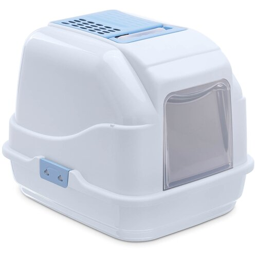 Туалет-домик для кошек Imac Easy Cat 50х40х40 см голубой/белый