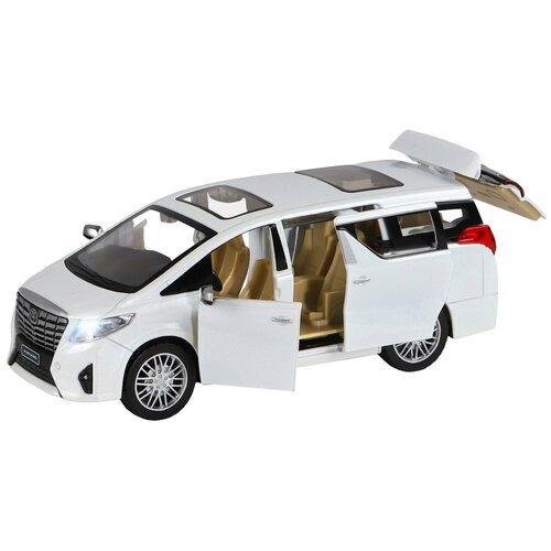 Машинка детская, металлическая, инерционная, Автопанорама, коллекционная, 1:29 Alphard, белый, открывающиеся передние двери, свет, звук.