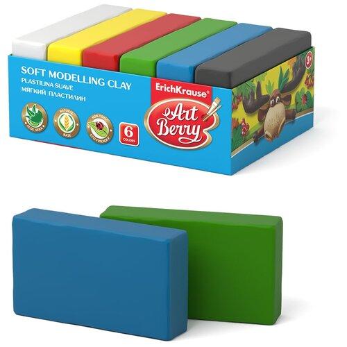 Купить Пластилин ErichKrause ArtBerry с Алоэ Вера классическая палитра 6 цветов/300 г (41785), Пластилин и масса для лепки