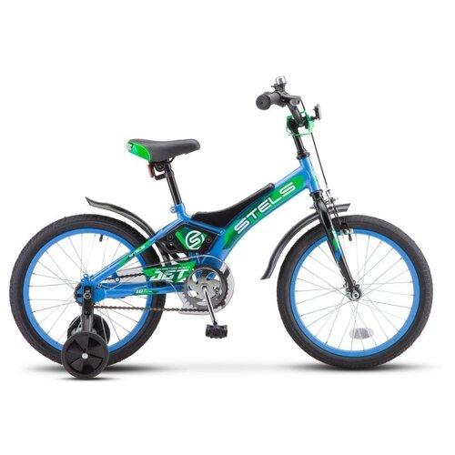 """Детский велосипед STELS Jet 16 Z010 (2021) голубой/зеленый 9"""" (требует финальной сборки)"""