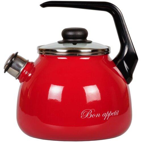 СтальЭмаль Чайник Bon appetit со свистком 1RC12, 3 л, чёрный с зерном / вишнёвый стальэмаль чайник bon appetit со свистком 1rc12 3 л чёрный с зерном вишнёвый