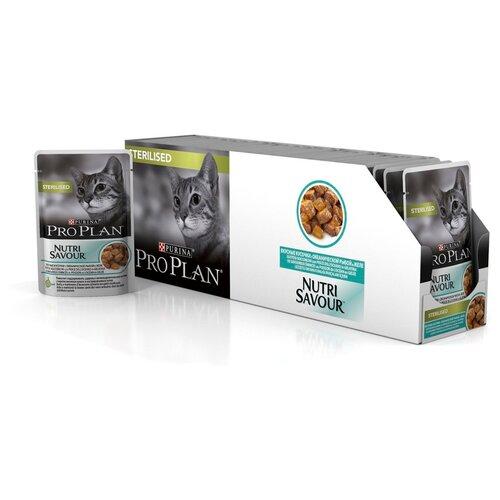 Влажный корм для стерилизованных кошек Pro Plan Nutrisavour, с океанической рыбой 26 шт. х 85 г (кусочки в желе)