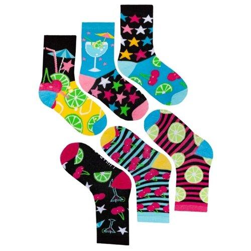 Комплект женских непарных носков lunarable Коктейли, желтые, черные, темно-голубые, ярко-розовые, размер 35-39