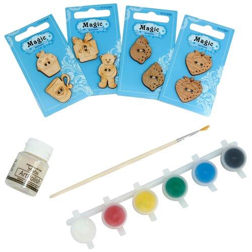 Купить Набор пуговиц для раскрашивания 'Летние Чаепитие' (2-3см), с красками, Astra&Craft, Astra & Craft, Роспись предметов