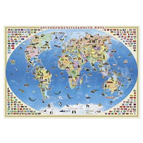 ГеоДом Карта Мира настенная Достопримечательности мира (4607177457932), 101 × 69 см геодом карта настенная геодом российская федерация инфографика