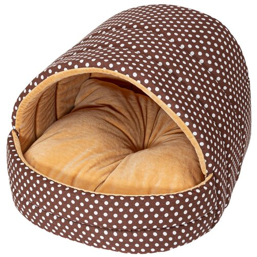 Домик для собак и кошек XODY Эстрада №1 мех плюш 41х36х30 см коричневый/бежевый