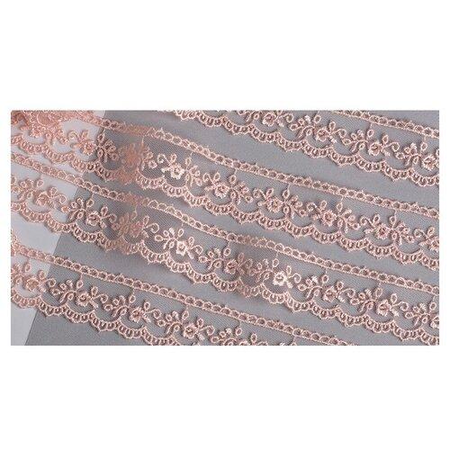 Купить Кружево на сетке KRUZHEVO TR.8B0038B шир.25мм цв.06 розовая пудра уп.9м, Декоративные элементы