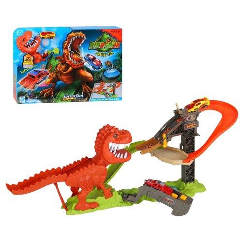Игровой набор детский Трек на батарейках с динозавром и металлической машинкой (своб. ход колес), пусковое устройство, в/к 49*33*8,5 см .
