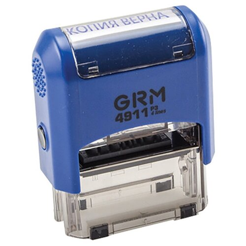 Фото - Штамп стандартный КОПИЯ ВЕРНА, оттиск 38х14 мм синий, GRM 4911 Р3, 110491140 штамп trodat 4911 прямоугольный копия верна черно серый корпус синий