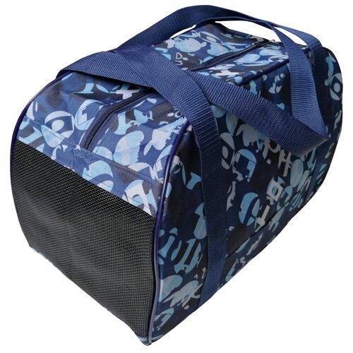 Сумка-переноска для кошек и собак Теремок СП-4 40х21х27 см синий/белый по цене 890