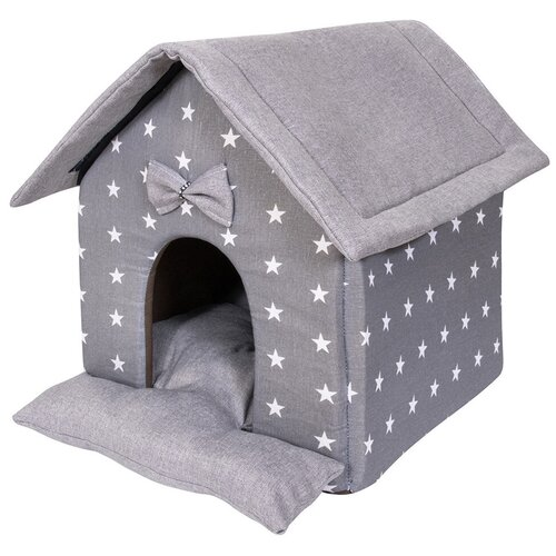 Фото - Домик для собак и кошек HutPets LittleHouse 45х40х45 см Gray Stars лежак для собак и кошек hutpets minicot s 50х45 см coffee stars