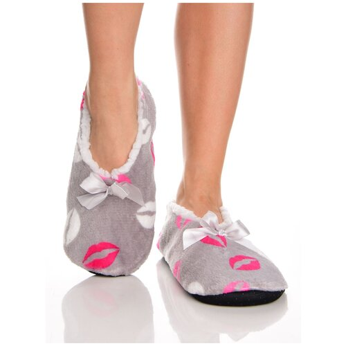 Плюшевые домашние носки на нескользящей подошве, внутренний подклад из искусственного меха, принт цветные губы - поцелуйчики, серый цвет, размер 35-38