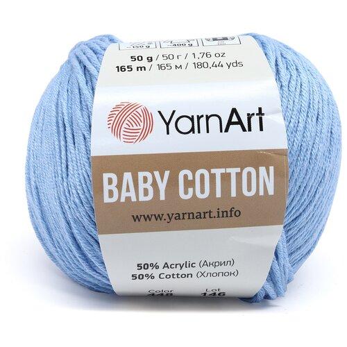 Фото - Пряжа YarnArt 'Baby Cotton' 50гр 165м (50% хлопок, 50% акрил) (448 светло-голубой), 10 мотков пряжа yarnart baby 50гр 150м 100% акрил 1182 коричневый 5 мотков