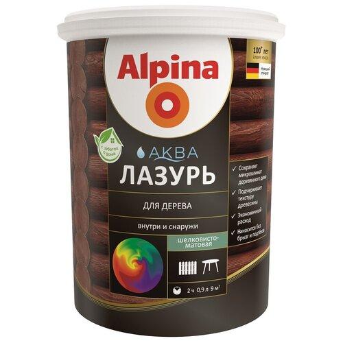 Alpina Аква Лазурь Лессирующий антисептик для дерева, рябина (10л) alpina грунтовка по дереву лессирующий антисептик 10л