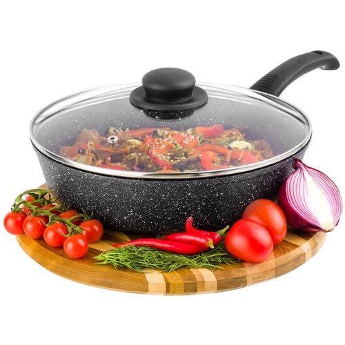Сковорода глубокая Гармония вкуса, цвет: черный мрамор, с крышки, 26 см сковорода d 24 см kukmara кофейный мрамор смки240а
