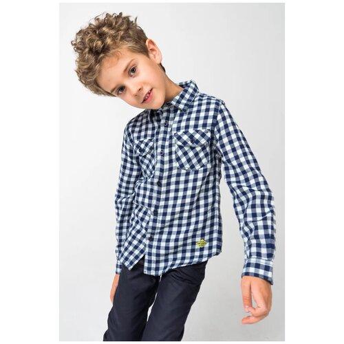 Рубашка 3Pommes размер 116, синий/белый рубашка fleur de vie 24 1860 рост 116 синий