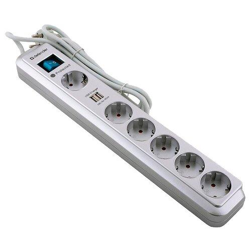 Сетевой фильтр Defender DFS 501 (99051), 6 розеток, 2 м, с/з 2200 Вт
