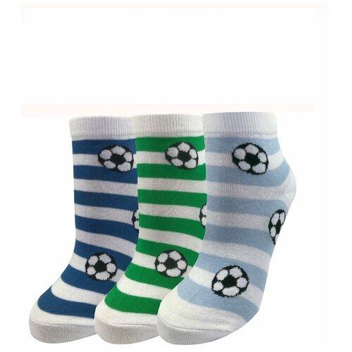 Носки женские / подростковые МЛ-7, c рисунком футбол, яркие, набор - 3 пары, средние, хлопок р-р 25