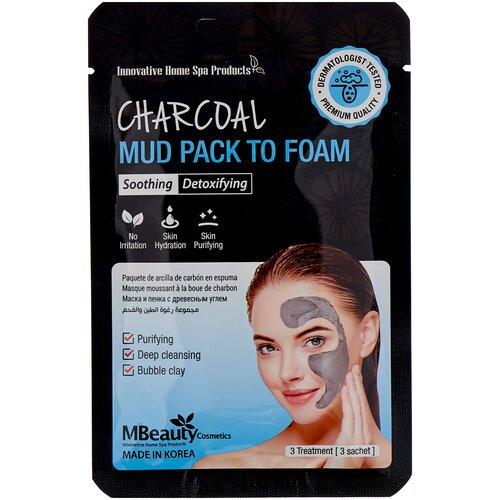 Фото - Mbeauty маска-пенка Charcoal mud pack to foam с древесным углем, 7 мл, 3 шт. глиняная маска пенка для лица с древесным углем charcoal mud pack to foam 7 3мл