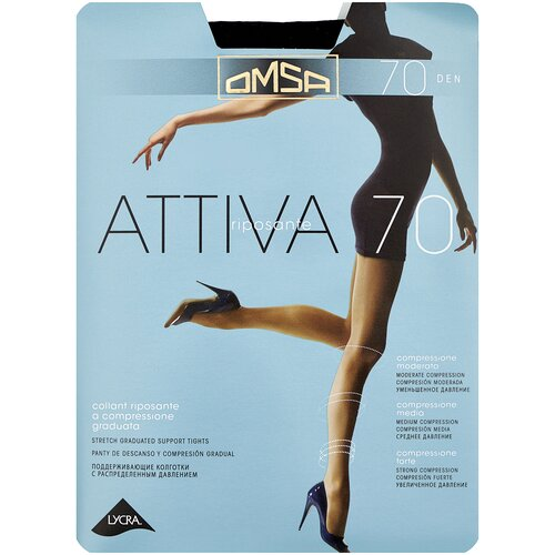 Колготки Omsa Attiva, 70 den, размер 3-M, nero (черный) колготки omsa attiva 20 den размер 3 m nero черный