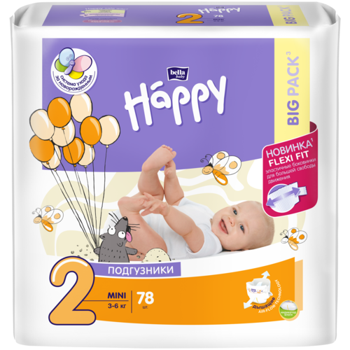 Bella Baby happy подгузники mini 2 (3-6 кг), 78 шт.