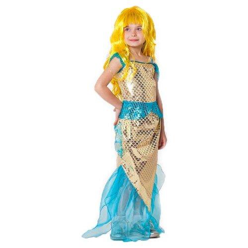 Купить Костюм Страна Карнавалия Золотая русалка (3640667-3640671), золотистый, размер 122-128, Карнавальные костюмы