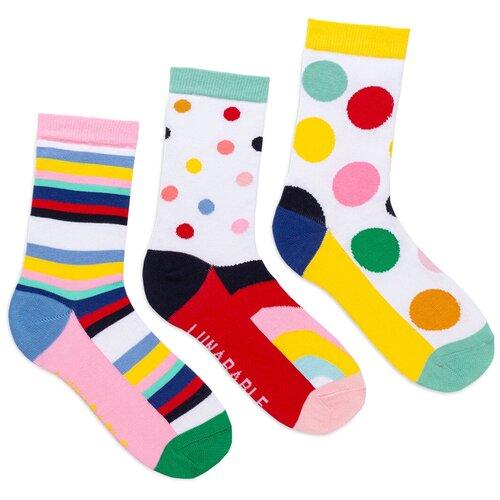Комплект женских носков с принтом lunarable Геометрия, белые, желтые, красные, размер 35-39