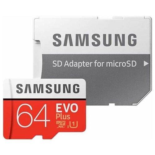 Фото - Карта памяти 64GB Samsung MB-MC64HA microSDXC EVO Plus 100MB/s + SD adapter карта памяти samsung 64gb evo plus v2 microsdxc class 10 u1 sd adapter mb mc64ha