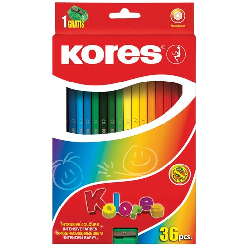 Карандаши цветные Kores 36 цветов, 6-гранные, точилка