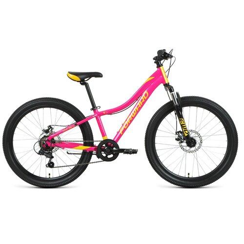 """Подростковый горный (MTB) велосипед FORWARD Jade 24 2.0 disc (2021) розовый/желтый 12"""" (требует финальной сборки)"""