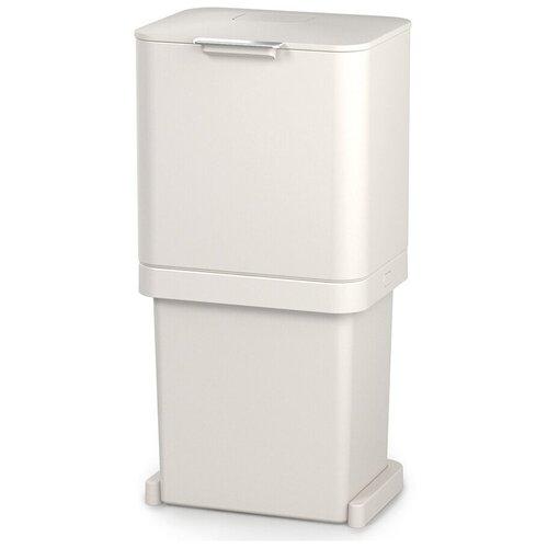 Контейнер для мусора с двумя баками Totem Pop 60 л белый Joseph Joseph 30091 контейнер для мусора с прессом titan 20 л серый joseph joseph 30039