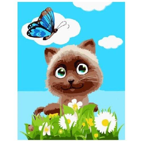 Купить Котик в цветах, Paintboy, Картины по номерам и контурам