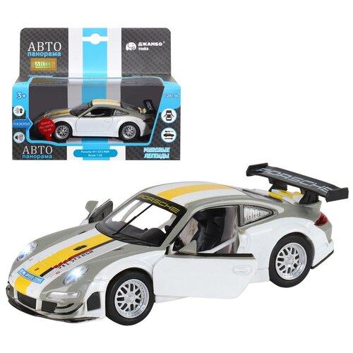 Купить Машинка детская, металлическая, инерционная, Автопанорама, коллекционная, 1:32 Porsche 911 GT3 RSR, серебряный, свет, звук, открывающиеся двери, Машинки и техника