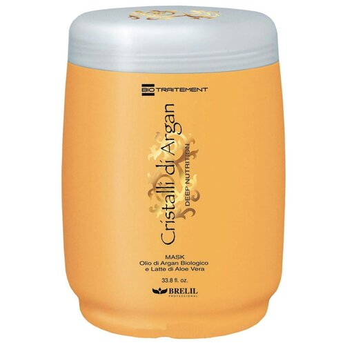Brelil Professional BioTraitement Cristalli di Argan Маска для волос питательная с аргановым маслом и молочком алоэ вера, 1000 мл