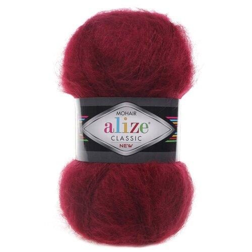 Купить Пряжа для вязания Alize 'Mohair classic new' 100гр. 200м (25%мохер, 24%шерсть, 51%акрил) (57 бордовый), 5 мотков