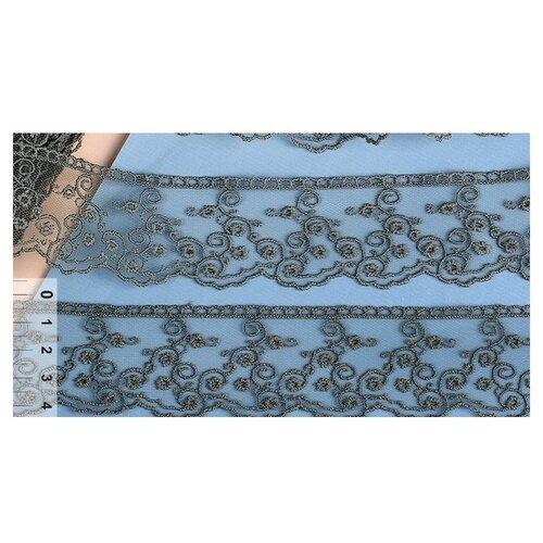 Купить Кружево на сетке KRUZHEVO TR.4886 шир.45мм цв.370 т.серый уп.14м, Декоративные элементы