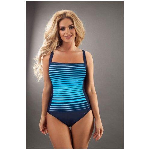 Verano Слитный женский купальник Estella в полоску синий с красным 48