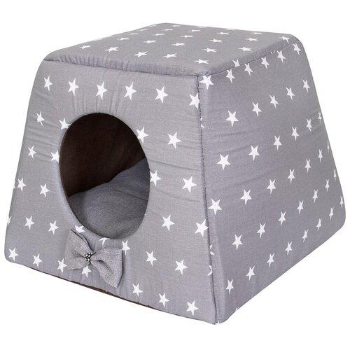 Фото - Домик для собак и кошек HutPets Multihouse 45х45х35 см Gray Stars лежак для собак и кошек hutpets minicot s 50х45 см coffee stars