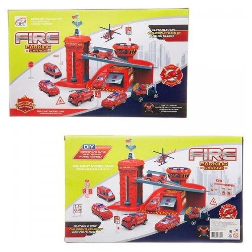 Парковка-трек Junfa Пожарная станция, с 2 машинками, лифтом, аксессуарами Junfa TH8523