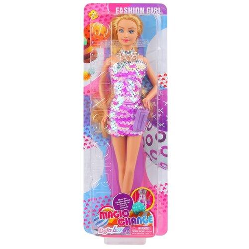 Купить Кукла детская для девочек Defa , Модница , Кукла в платье с 2х сторонними пайетками и сумочкой, цвет розовый, 11.5*5*32см, Куклы и пупсы