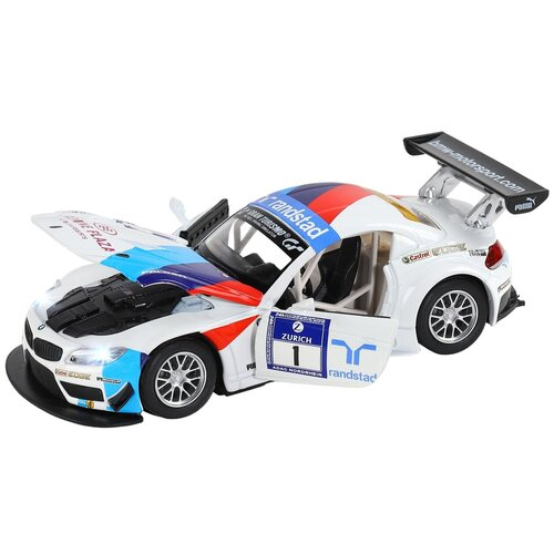 Купить Машинка детская, металлическая, инерционная, Автопанорама, коллекционная, 1:32 BMW Z4 GT3, белый, свет, звук, открывающиеся двери, Машинки и техника