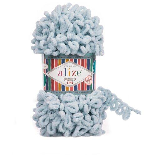 Купить Пряжа для вязания Alize 'Puffy Fine' 100г 14м (100% микрополиэстер) (500 серый), 5 мотков