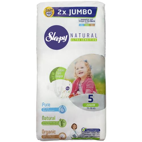 Купить Sleepy подгузники Natural Ultra Sensitive 5 (11-18 кг), 48 шт., Подгузники