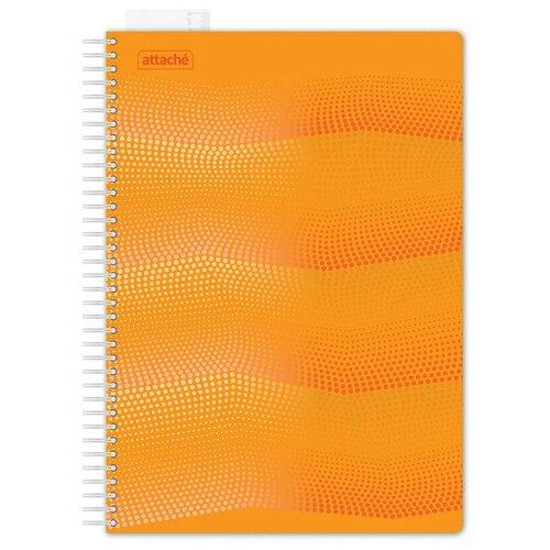 Бизнес-тетрадь WAVES А4 100л. ATTACHE клетка, спираль, с закладкой, оранжевый