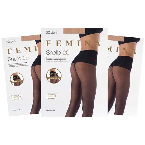 Женские колготки Femina, с утягивающим поясом, Snello 20 den набор 3 шт., карамельный, размер 3