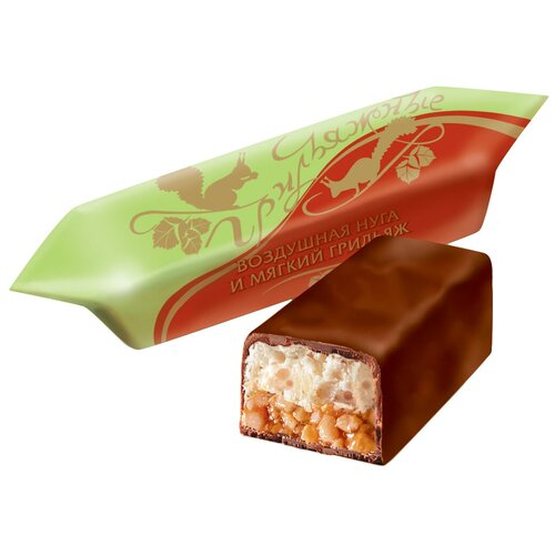 Конфеты Рот Фронт Грильяжные воздушная нуга и мягкий грильяж, пакет, 1 кг конфеты славянка фарс шоколадная нуга с желе и шариками пакет 1 кг