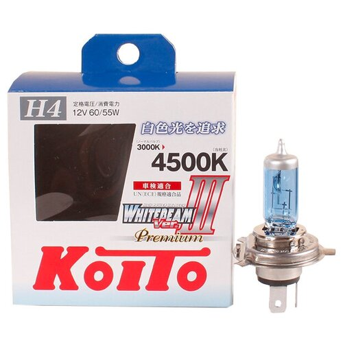 Лампа галогенная Koito Whitebeam Premium H4 12V 60/55W (135/125W) 4500K, 2 шт. (блистер)