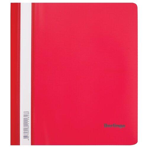 Папка-скоросшиватель пластиковая Berlingo, А5, 180мкм, красная с прозрачным верхом, упаковка 20 шт.