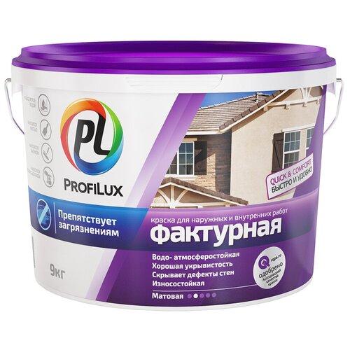 Декоративное покрытие Profilux Краска структурная для наружных и внутренних работ белый 9 кг